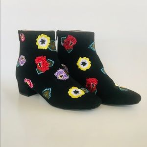 BETSEY JOHNSON TWIGGY EMBROIDERED FLORAL BOOTIE
